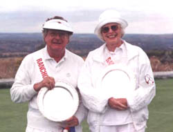 (Left to Right) Dr. Frank Stuart, owner and croquet impressario of Rancho Pancho, won the Championship Flight of the first tournament on the new court.  With him, Jean Winterhalder, winner of
