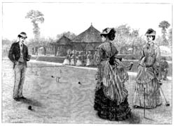 The last croquet  game of the season, from <I>Illustrated London News</I>, 28 September 1872.  The accompanying  review of the Wimbledon season commented on the figure at left: